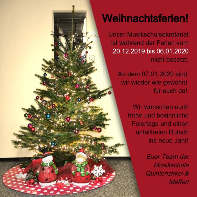 Das Musikschulsekretariat bleibt während der Weihnachtsferien geschlossen.